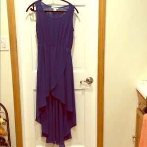 Royal blue high low dress with see thru top